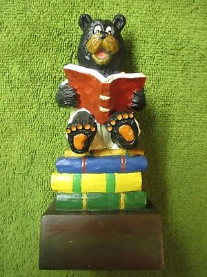 """New in Box Bear Reading on Stack of Books Figurine/Bookend 6"""" Tall Hand-Painted!"""