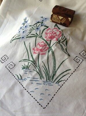 Vintage Antique Art Deco Hand Embroidered Linen Tablecloth Pink & Blue Flowers