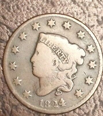 1824/2   Large Cent. Rare 4 Over 2