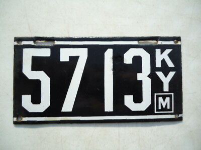 "1912 Kentucky ""M"" porcelain license plate"
