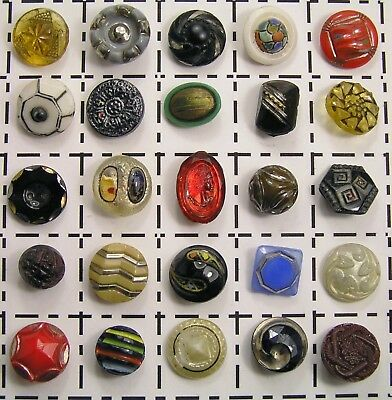 Beautiful Collection Antique Vintage Glass Buttons Variety Colors Design Painted