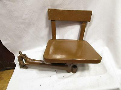 Vintage INDUSTRIAL Cast Iron Swing Arm Stool Chair steampunk Table Workbench #2