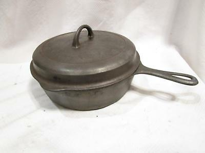 GRISWOLD #8 Deep Chicken Fryer Skillet & Hinged Lid SMALL LOGO 2528 cast iron