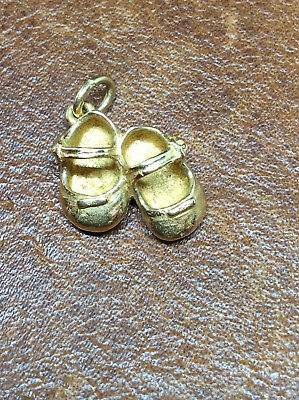 Retired James Avery 14K Gold Lil Girl Baby Shoes Charm/Pendant