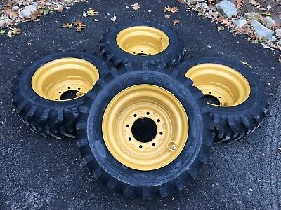 4 NEW 10-16.5 Skid Steer Tires/Wheels/Rims for Caterpillar 216-226 - CAT 10X16.5