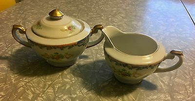Vtg. Krescent China Sugar Bowl & Creamer Set Floral Sprays w/Blue Lattice Insets