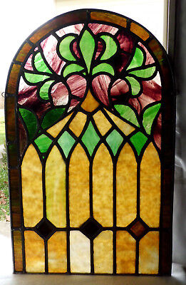 Antique Vtg Church Stained Glass Window Architectural Salvage Sun Catcher Arch C