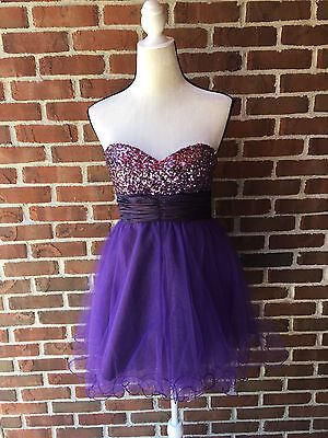 Purple Sequin Tulle Formal Dress Woman's Size 4-6 Strapless Mini NWT