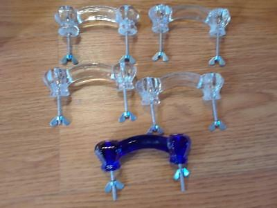"Lot 4 vintage glass drawer pulls 4 clear 1 cobalt blue 4"" with screws 3"" apart"
