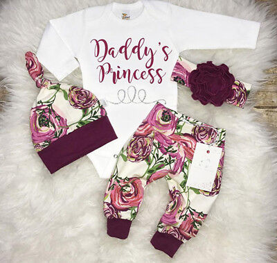 USA Toddler Kid Baby Girls Floral Romper Pants Leggings Hat Outfits Clothes 3pcs