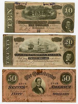 (Group of 3) T-66, T-67, T-68 Confederate States of America Notes - NO RESERVE!