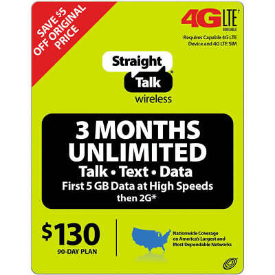 Straight Talk $130 Unlimited 90 Days + Text w/ 12GB LTE Data Service Card