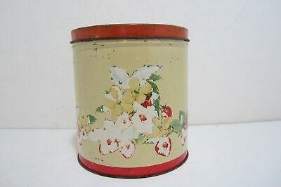 """Vintage 6 3/4"""" Metal Tin Canister With Strawberry Design"""