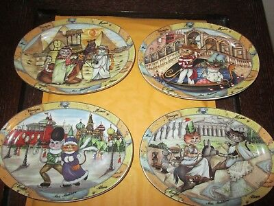 """Tourist Cats Made In Italy Set of 4  Plates New No Box 8"""" x 5.5"""""""