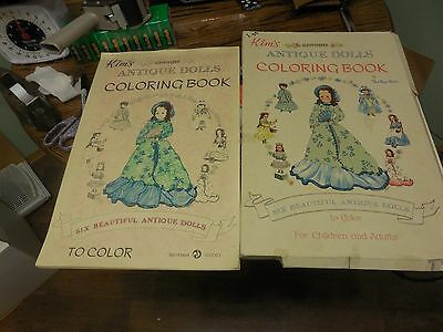 Vintage Kim's Antique Dolls Coloring Book. Red Farm Studio. Colored In. With Box