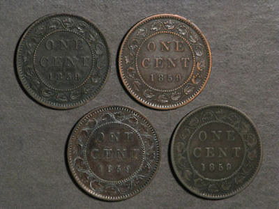 CANADA 1859 1 Cent Victoria - Lot of 4 Coins Avg. F-VF