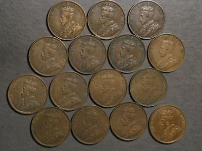 CANADA 1911-1919 1 Cent George V - 15 Coins Avg. VF