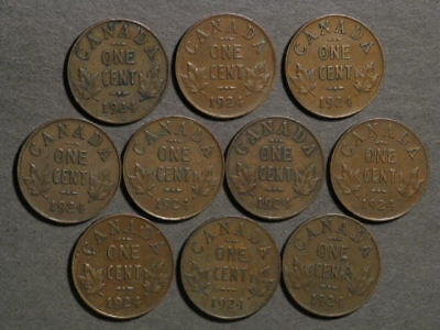 CANADA 1924 1 Cent - Low Mintage - 10 Coins