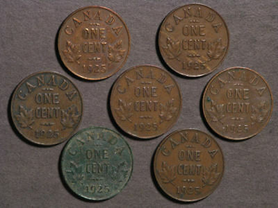CANADA 1925 1 Cent - Better Date - 7 Coins