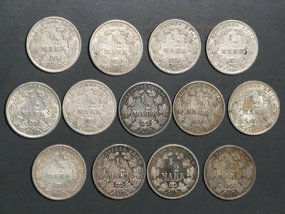 GERMANY 1905-1918 1/2 Mark Silver - Lot of 13 Mixed Dates/Mints