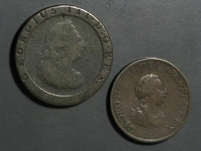 GREAT BRITAIN 1797-1799 1/2-1 Penny George III - 2 Coins