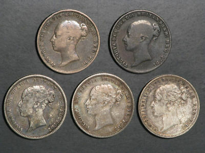 GREAT BRITAIN 1851-1878 6 Pence Victoria Silver - 5 Dates/Coins