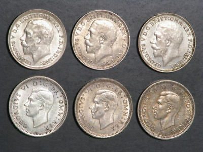 GREAT BRITAIN 1912-1944 3 Pence Silver - 6 Dates/Coins Avg. XF-AU