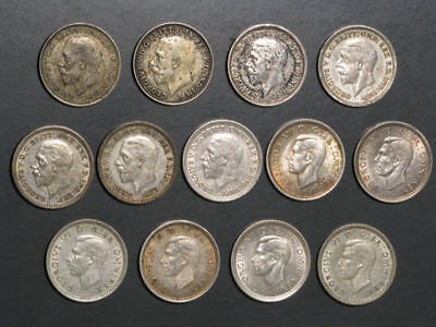 GREAT BRITAIN 1921-1943 3 Pence Silver - 13 Dates/Coins