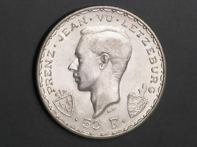 LUXEMBOURG 1946 50 Francs John the Blind Silver UNC