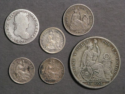 PERU 1821-1923 Lot of 6 Different Silver Coins