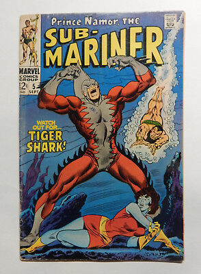 Sub-Mariner #5 1st Tiger Shark  1968, Marvel Lower/Mid Grade