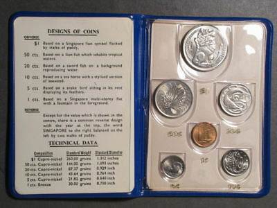 SINGAPORE 1970  6 Pc. Mint Set in Blue Wallet