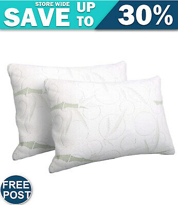 Deluxe Set of 2 Bamboo Fabric Cover Shredded Memory Foam Pillow 70 x 40 cm