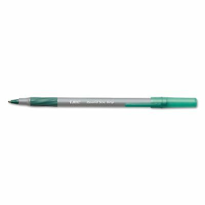 BIC Round Stic Grip Xtra Comfort Ballpoint Pen, Green Ink 1.2mm Medium, 12ct