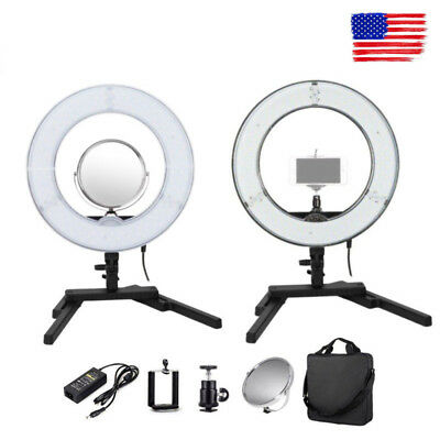 """US 14"""" 40W Dimmable Diva LED Mini Ring Light Mirror Stand Makeup Photo Studio"""