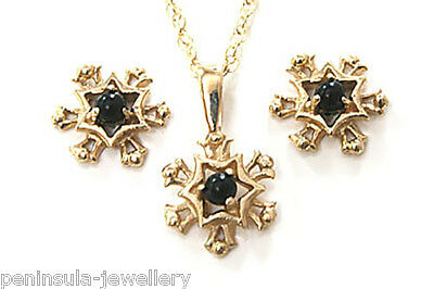 9ct Gold Black Onyx Snowflake Pendant and Earring set Gift Boxed Made in UK