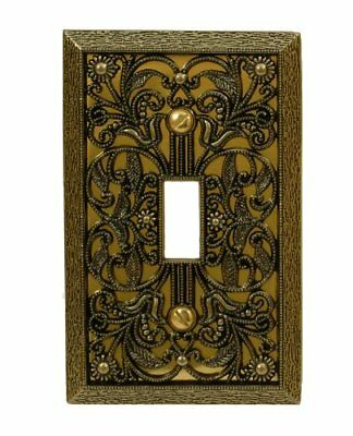 Amerelle Filigree Vintage Sturdy Cast Metal Toggle Wallplate Cover Antique Brass