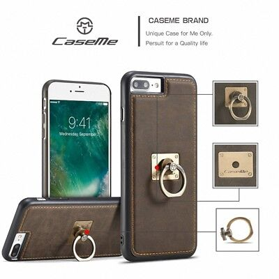 Retro Vintage Leather Ring Stand Magnetic Back Case Cover For iPhone 6 6s 7 Plus