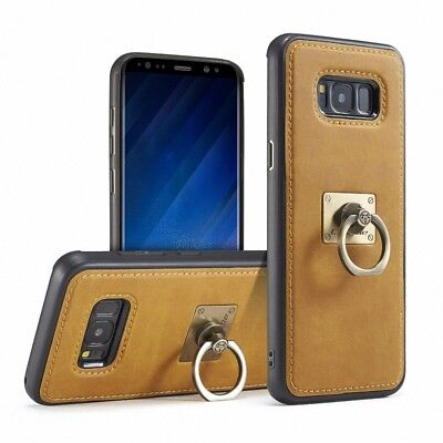 Vintage Slim Leather Ring Stand Magnetic Back Case Cover For Samsung Galaxy S8/7