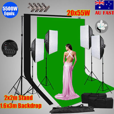 Photography 3PCS Backdrops Set 4 Soft Boxes Studio Softbox Lighting Stand Kit AU