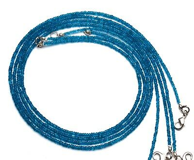 """Natural Gem Super Quality Neon Apatite 3MM Smooth Rondelle Beads Necklace 16.5"""""""