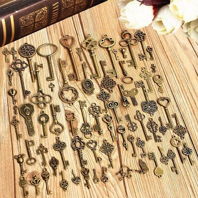 70Pcs Retro Antique Old Look Bronze Skeleton Key Fancy Heart Bow Pendant Decor