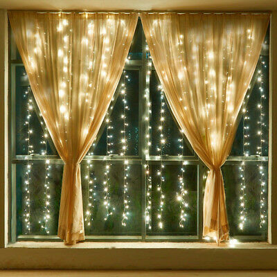 3x300 LED Warm White Lights Curtain String Fairy Lamp Christmas Wedding Party 3M