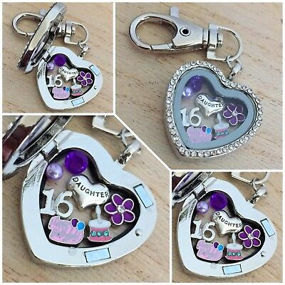 Birthday Gift Floating Heart Memory Locket Keyring - 30th 40th 50th 60th #1