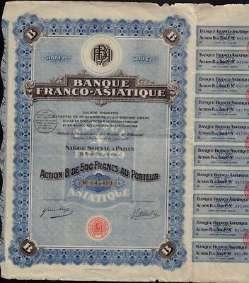Banque Franco Asiatique ( founded by Serge Rubinstein ) Bank France Russia China