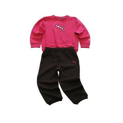 Puma Toddlers Tracksuit Set Girls Pink Brown Fleece Crew Jogger Suit age 12-18 m