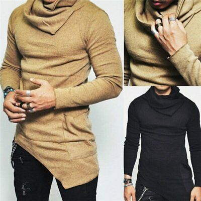 Fashion Men Slim Fit Irregular Long Sleeve Muscle Tee T-shirt Casual Tops Blouse