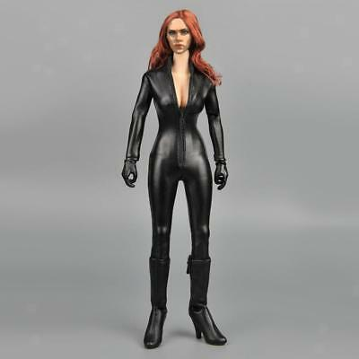 1/6 Female Clothing Black PU Leather Jumpsuit Catsuit for 12'' Phicen Figure
