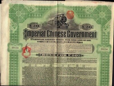 CHINA  Imperial Chinese Government Hukuang Railways Gold Bond 1911  w coupons