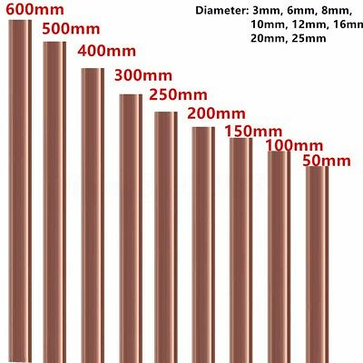 Copper Round Bar Rod Milling Welding Metalworking 3mm -25mm Dia. 50-500mm Length